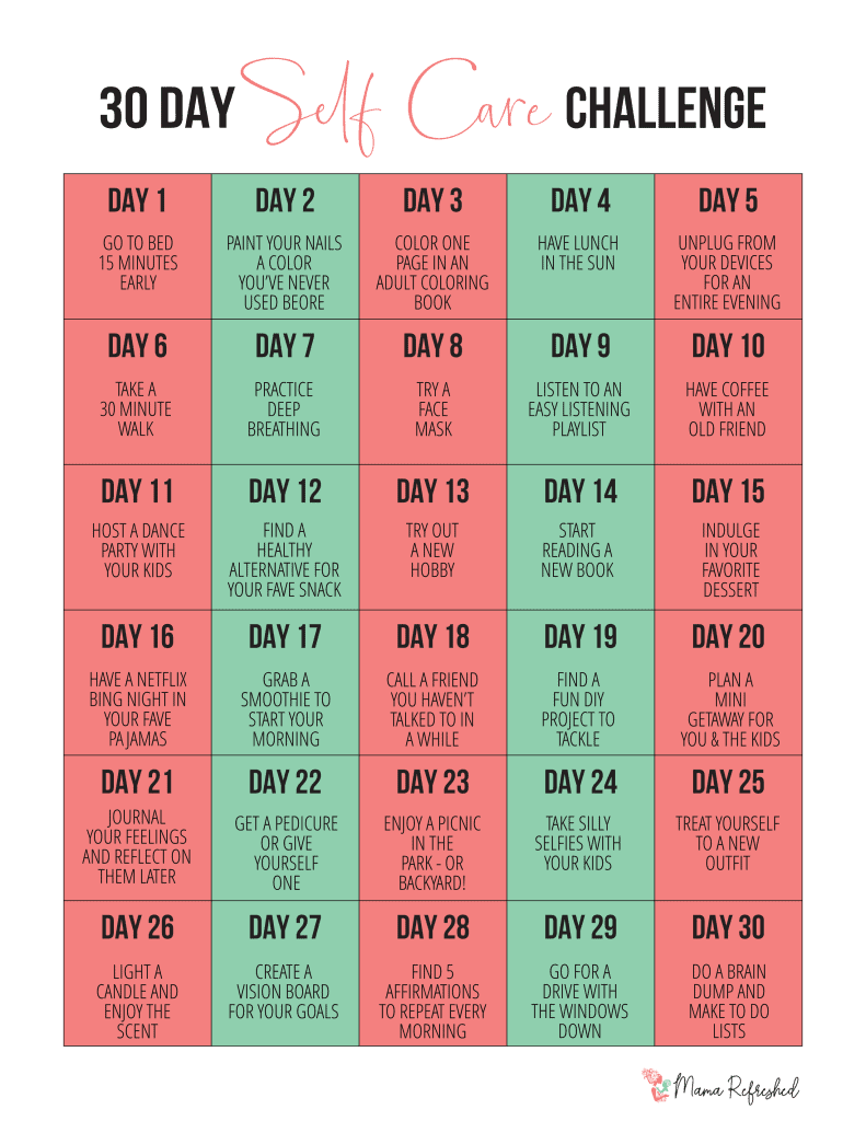 30 Day Self Care Challenge for Moms