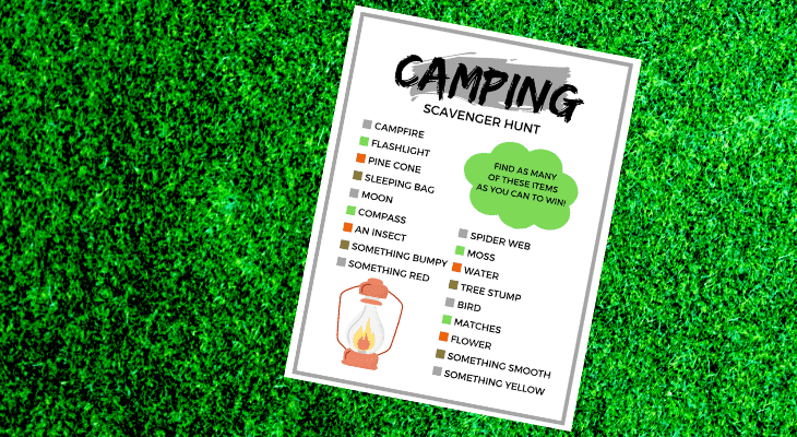 Camping scavenger hunt for kids