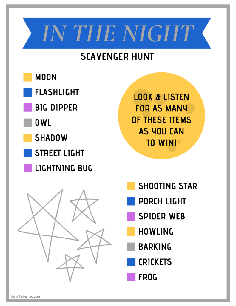FREE night scavenger hunt for kids