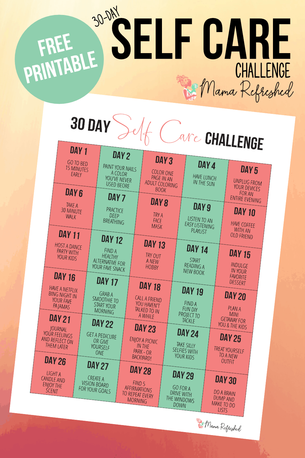 30 Day Self Care Challenge for Moms (Free Printable)