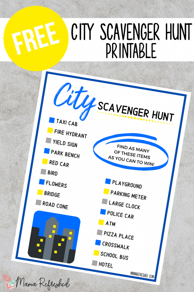 Get this free city scavenger hunt printable today!