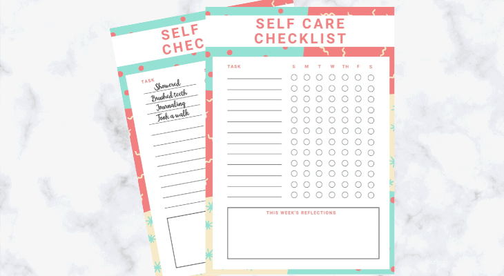 Free daily self care checklist