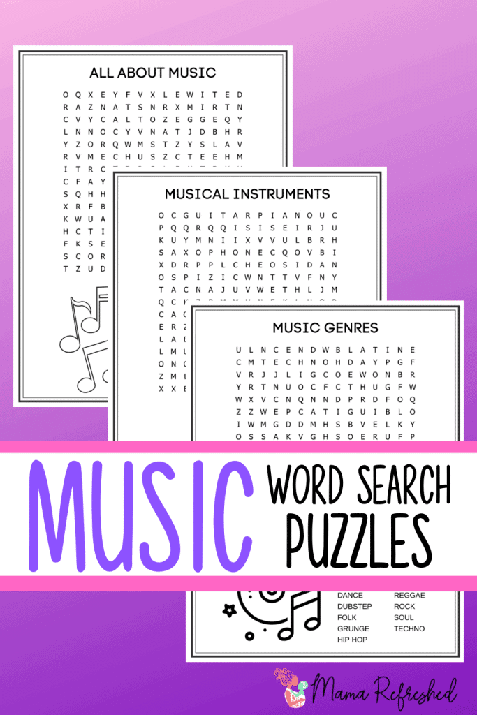 Grab these free music word search puzzles for a fun homeschool activity for kids!