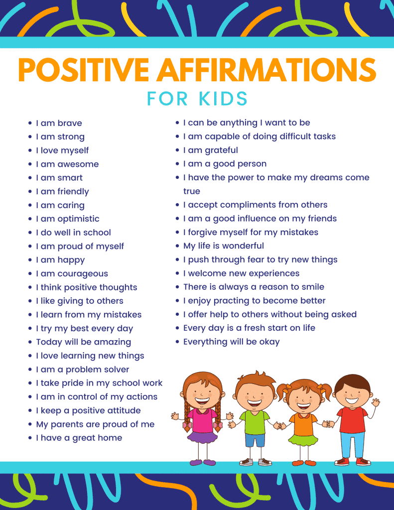 Daily Affirmations for Kids FREE Printable