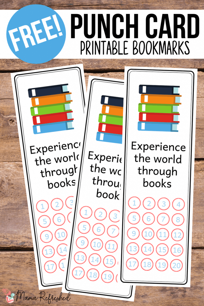 Download these free punch card bookmarks for kids to promote reading in your home!