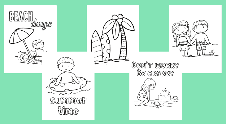 Free beach coloring pages for kids