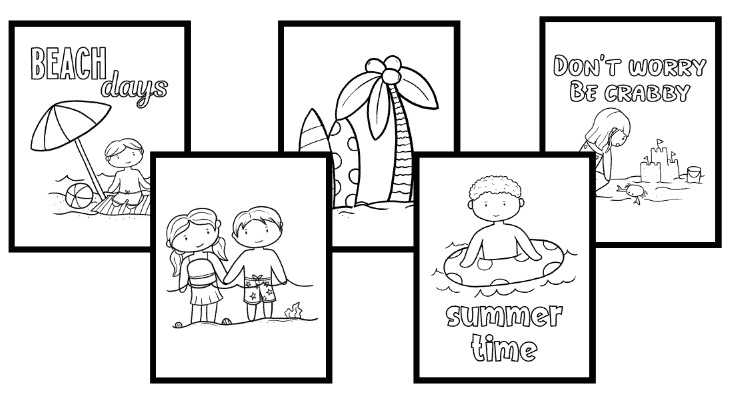 FREE beach coloring sheets for kids