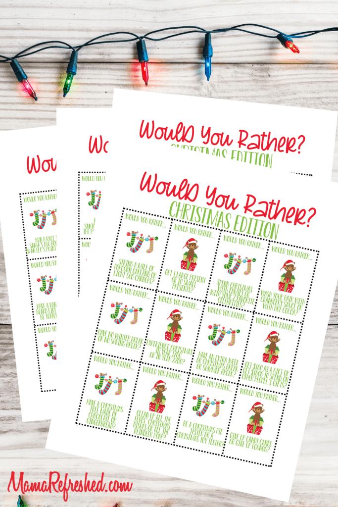 Christmas Would You Rather Printable Game