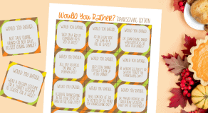 Thanksgiving would you rather printable cards