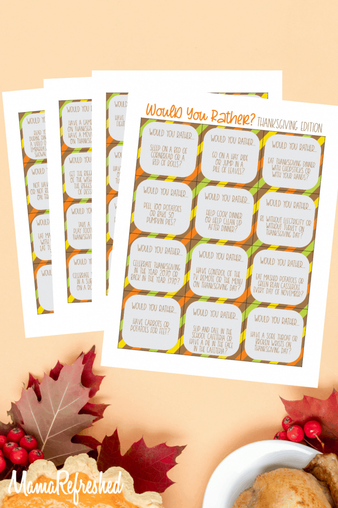 Thanksgiving Would You Rather Printable Game