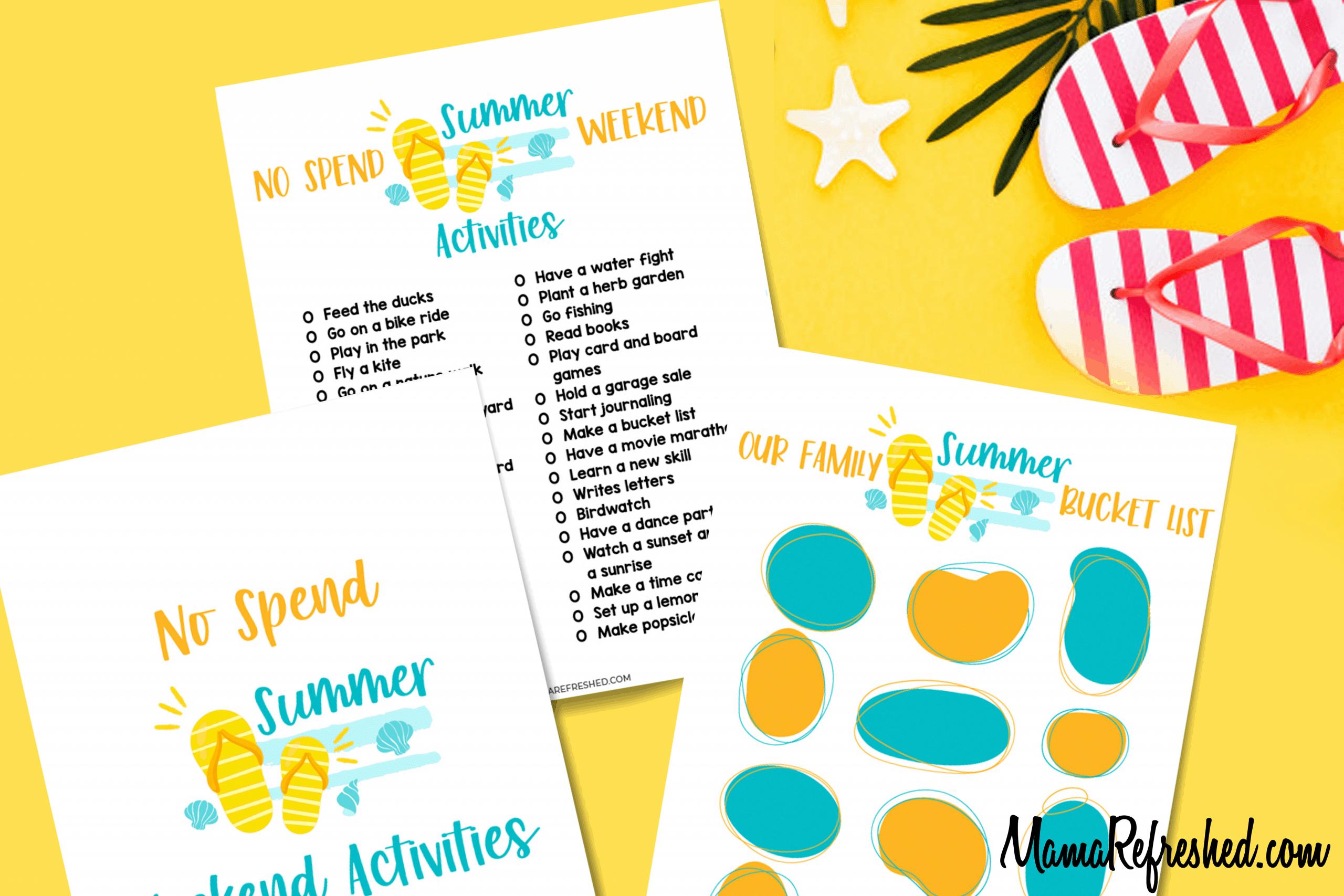 No Spend Summer Weekend and Bucket List